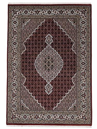 carpetfine Tabriz Mahi Teppich Rot 250x350 cm | Handgeknüpfter Teppich für Wohn- und Schlafzimmer