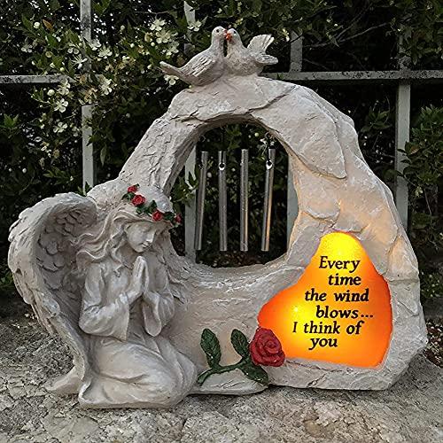 Freundin Geschenk Gartendeko Figuren Solarlampen für Außen Solarleuchte Garten Deko Segen Engel Mädchen Harz Handwerk Statue Kunst Figur Ornament Home Decor Geschenke für Frauen