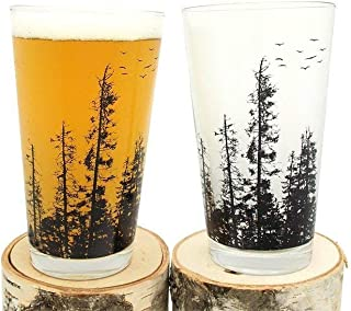 Pint Glasses - Pine Tree Forest - Set of Two Screen Printed Pint Glasses