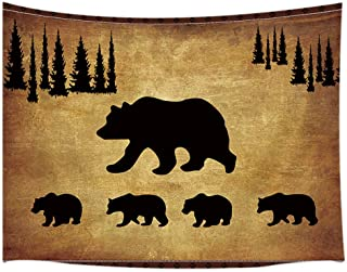 JAWO Animal Black Bear Tapestry Wall Hanging, Rustic Cabin Wildlife Design Tapestries, Country Lodge Forest Pine Trees Wall Art 71X60 Inches