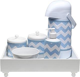Kit Higiene Candy com Nome Chevron, Potinho de Mel, Azul