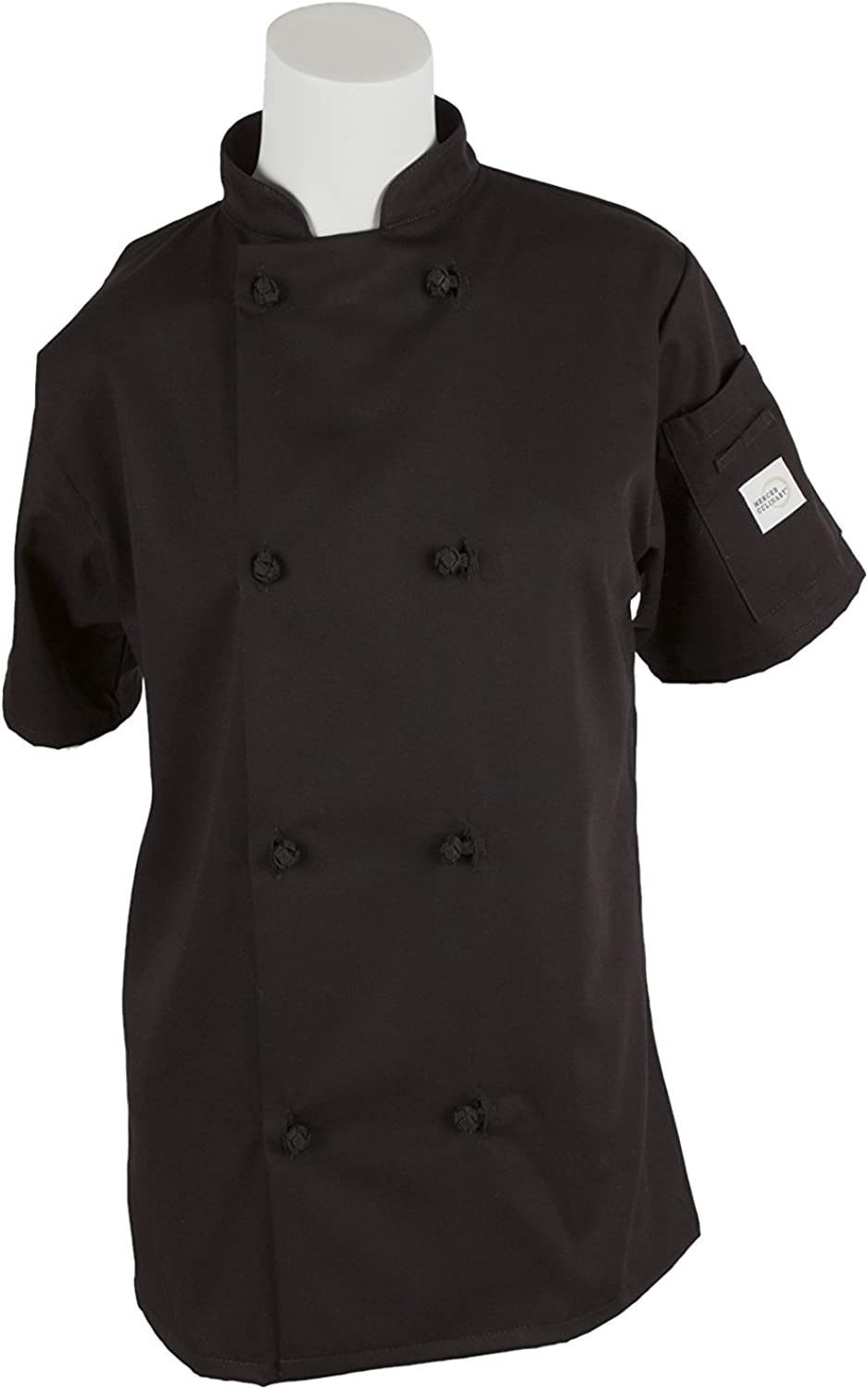 Mercer Culinary M60024BK3X Millennia Women's Short Sleeve Cook Jacket with Cloth Knot Buttons, 3XLarge, Black
