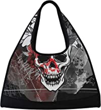 Gym Bag, Sports Duffle Bag Trash Skull Training Handbag Large Travel Shoulder Tote Bag Tennis Badminton Racket Bag for Men Women