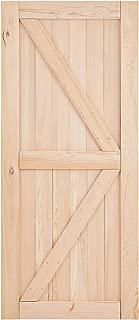 EaseLife 36in x 84in Sliding Barn Wood Door Slab,Solid Nature Hemlock,Single Door Only,DIY Unfinished Panel,Environmental,Easy Installation,K-Frame (Fit 6FT-6.6FT Track Kit)
