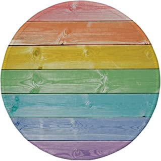 Non-Slip Rubber Round Mouse Pad,Pastel,Wooden Planks in Rainbow Colors Rural Rustic Home Cottage Theme Summer Shades Print Decorative,Multicolor,11.8