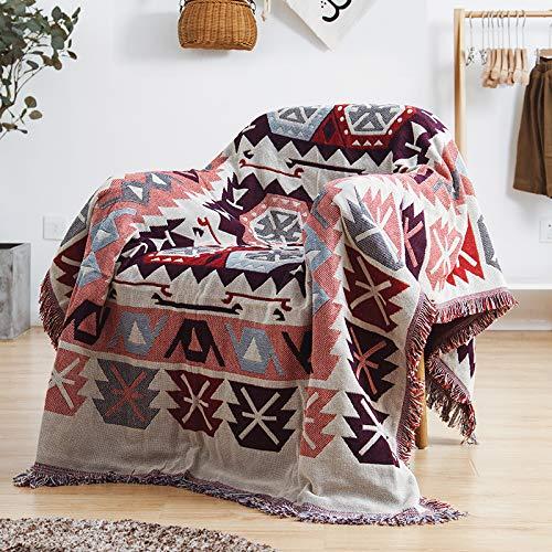 ARIESDY - Manta acolchada bohemia de algodón étnico indio, reversible, tapiz, colcha impresa, manta de punto de remiendo, 230 x 250 cm Strag