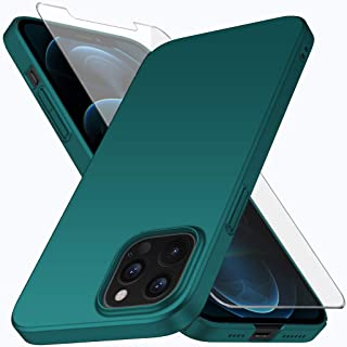 Vooway Compatible with iPhone 12 Pro Max Case + Tempered Glass Screen Protector, Green Ultra Slim Protective Case Hard Cov...
