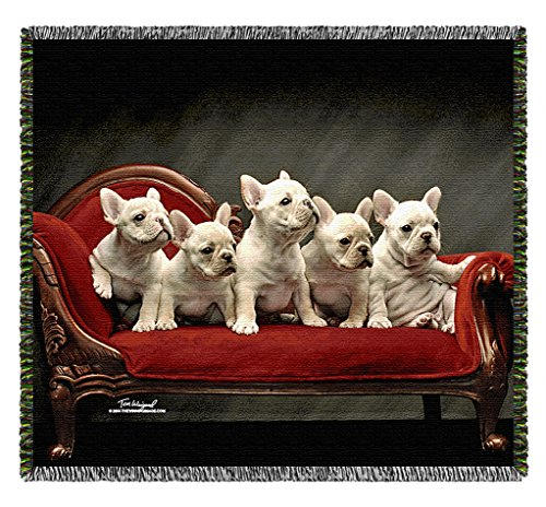 Frenchies -Tom Weigand French Bull Dogs- Pooch Power Tapestry Throw Blanket