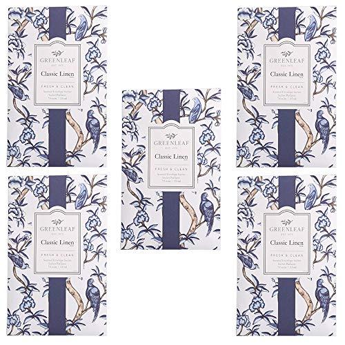 5 x Greenleaf, Classic Linen, Duftbeutel für Schränke, Packung mit 5 Beuteln, 11,5 x 17 cm, Düfte und Parfüme für Zuhause