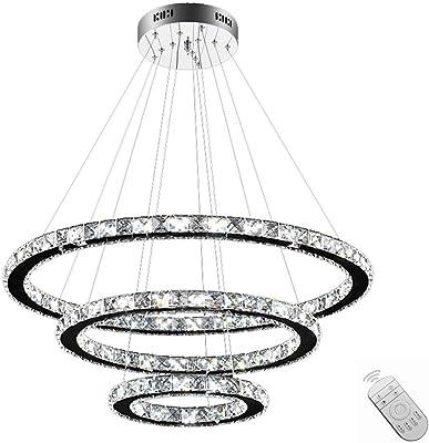 SAILUN® 96W LED Cristal Lámpara de Araña Moderna Lámpara Colgante, 3 anillos Lámpara de Techo Blanco Cálido Iluminación Interior (96W Regulable)