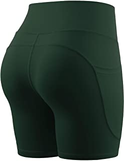 Cadmus High Waist Yoga Shorts for Women Tummy Control Fitness Workout Running Shorts with Deep Pocket