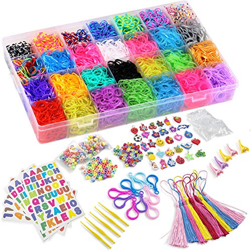 DasKid 12000+ Rainbow Rubber Bands Refill Set 11,000+ Loom Bands 42 Colors 600 Clips 200 Beads + 52 ABC Beads 30 Charms 10 Backpack Hooks 10 Tassels 5 Crochet Hooks 5 Hair Clips +ABC & Number Stickers