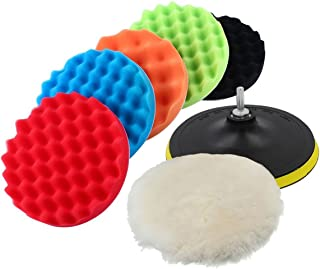 Yosoo Buffing Pads Polishing Pads, 7 Pcs Waxing Sponge Pads Kit Car Polisher with M14 Drill Adapter (7 Inch)