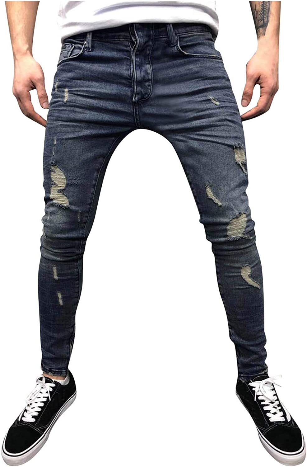 ZCAITIANYA Men's Jeans Trousers Casual 25% OFF Summe Straight Challenge the lowest price of Japan Holes Slim