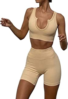 QIAOHONG Seamless Knitted Fitness Yoga Bra Sportswear Suit, Quick-Drying High-Waist Hip-Lifting Tight-Fitting Sportswear-4#-L
