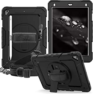 iPad 2018 9.7 Case,CLARKCAS [Built in Screen Protector] Shockproof Heavy Duty Protective Rugged Case with Strap for iPad Air 2/Pro 9.7/iPad 2017 9.7 inch [with Pencil Holder, Kickstand],Black