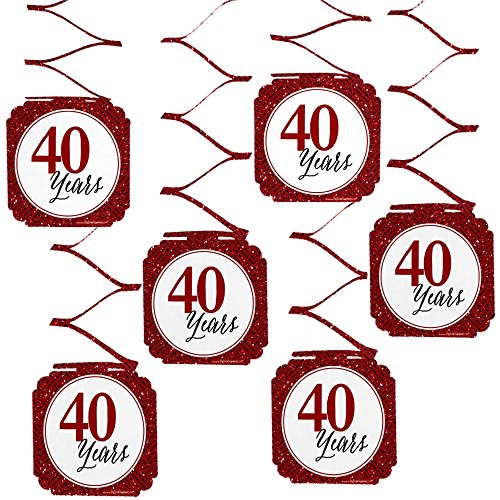 Big Dot of Happiness We Still Do - 40th Wedding Anniversary Party Hanging Decorations - 6 Count