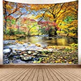 YISURE Autumn Season Nature Tree Wall Hanging Tapestry Hippie Wallpaper Green Live Scenery Forest Blanket for Bathroom Bedroom Window Living Room Dorm Art Decoration, Falling Leaves, Large Size 91x71''