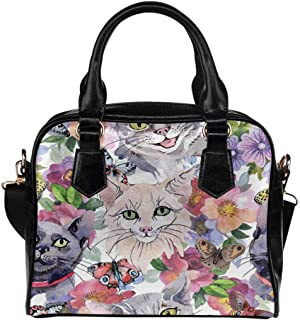 Pet Cat Kitty Paw Print Women's PU Leather Purse Handbag Shoulder Bag