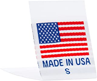 Wunderlabel Made in USA Woven Crafting Craft Art Fashion Ribbon Ribbons Tag for Clothing Sewing Sew Clothes Garment Fabric Material Embroidered Label Labels Tags, Red & Blue on White, S, 75 Labels