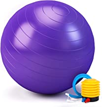 TWING Exercise Ball 55-65CM Birthing Ball Stability Ball Included Quick Yoga Ball Pump Purple 2,000-Pound Capacity