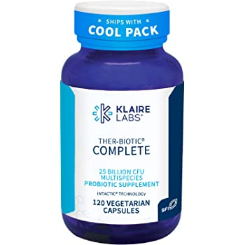Klaire Labs Ther-Biotic Complete Probiotic - 25 Billion High CFU Blend, The Original Hypoallergenic Probiotic for Men & Women, Dairy-Free (120 Capsules)