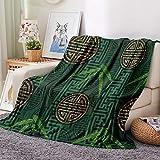 Manta con Estampado Hojas de bambú Estilo Chino Mantas para Sofa Manta de Microfibra Franela Throw de Microfibra Suave cálida y sólida para Cama sofá y Viaje 150x200cm