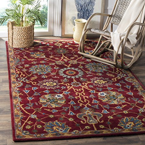Safavieh Heritage Collection HG655A Handcrafted Traditional Red Premium Wool Area Rug (8' x 10')
