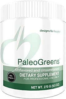 Designs for Health PaleoGreens - Unflavored and Unsweetened Organic Green Shake Powder with Alkalizing Vegetables, Enzymes + Antioxidants, No Fillers + Non-GMO (30 Servings / 270g)