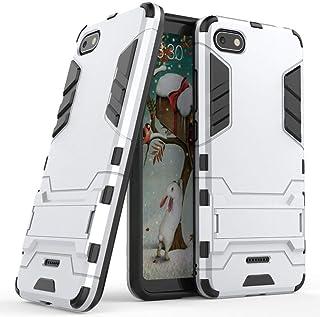 MaiJin Funda para Xiaomi Redmi 6A (5,45 Pulgadas) 2 en 1 Híbrida Rugged Armor Case Choque Absorción Protección Dual Layer Bumper Carcasa con Pata de Cabra (Plateado)