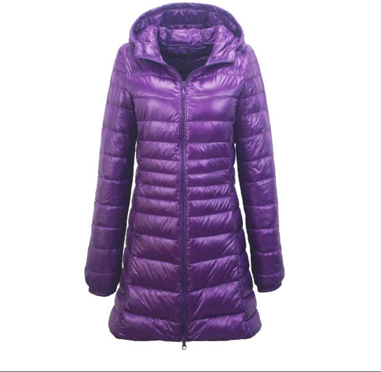 Xqqzql Winter Ultra Light Long Woman Hooded Warm LIM Plu IZE Down Coat