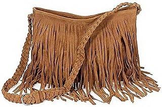 MOON Fashion Fransentasche Damentasche Beutel Taschen Schultertasche Umhängetasche mit Reissverschluss