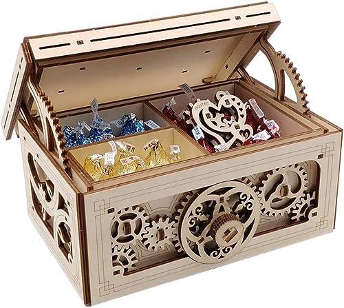 Lhcar Holzspielzeug 3D Puzzle Lernspielzeug Kreative Schatzkiste DIY Laserschneiden Mechanische Puzzles Für Kinder