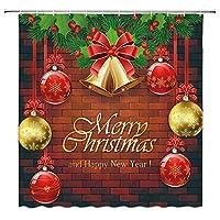 クリスマスボールクリスマスベル赤レンガの壁浴室の窓の装飾のための生地のホックが付いているポリエステル防水シャワー・カーテン60X72in