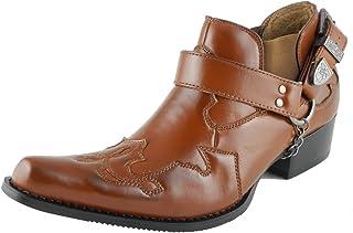 Bottes style cowboy western en cuir avec boucle