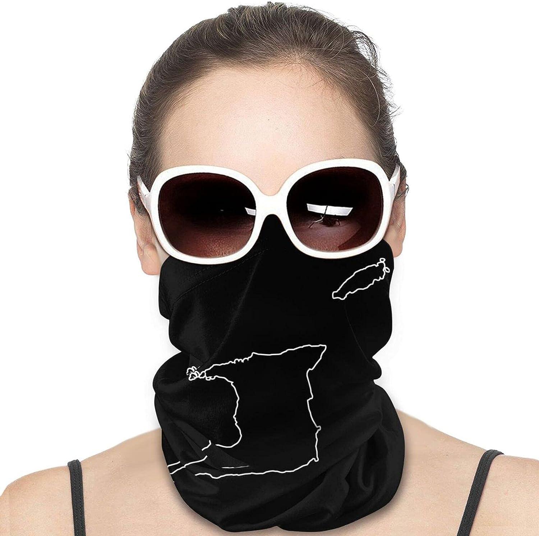 Tobago Flag Map Neck Gaiter Windproof Face Cover Balaclava Outdoors Magic Scarf Headband for Men Women Motorcycling Fishing Running Climbing