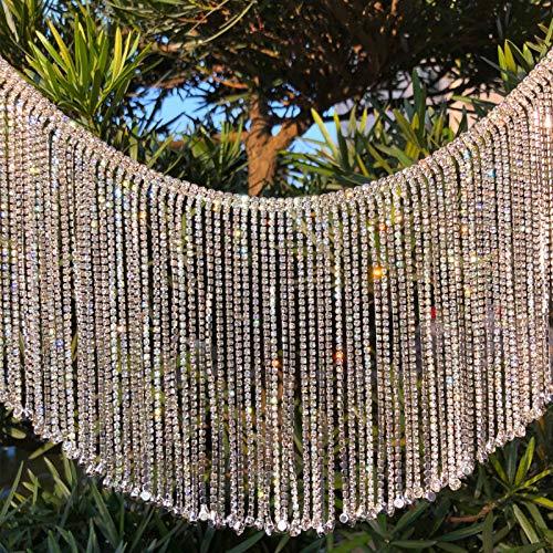 Dowarm 0.5 Yard Crystal Rhinestone Fringe Trim Silver Long Tassel Fringe Applique Trim Diamond White Crystal Chain Trim for Crafts Clothes Bridal Bouquet (Crystal Clear, Long Tassel)