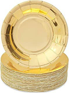 Modern Chic Luxe Large Square Party Plates Scalloped Edge set of 12 Shiny Gold Paper Plates