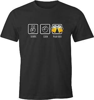 MoonWorks Herren T-Shirt Schere, Stein, Paar Bier lustiges Trink Shirt Saufen Bier Party