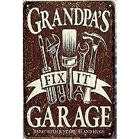 おじいちゃんのガレージ。インチのブリキの看板ヴィンテージ鉄の絵画金属板パーソナリティノベルティ