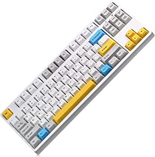 Mechanical Gaming Keyboard with Clicky Cherry MX Blue 87 Keys Wired Computer Keyboard for Windows PC Games (White)