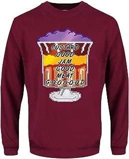 Grindstore Men's Meat Goooood! Christmas Jumper Sweater Burgundy