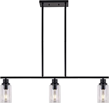Sivilynus Black Chandelier Kitchen Island 3 Lights Farmhouse Lighting Pendant Light Fixture Ceiling Hanging Modern Industrial