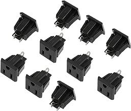 US 3 Pins Power Socket Plug Black AC 125V 15A Pack of 10