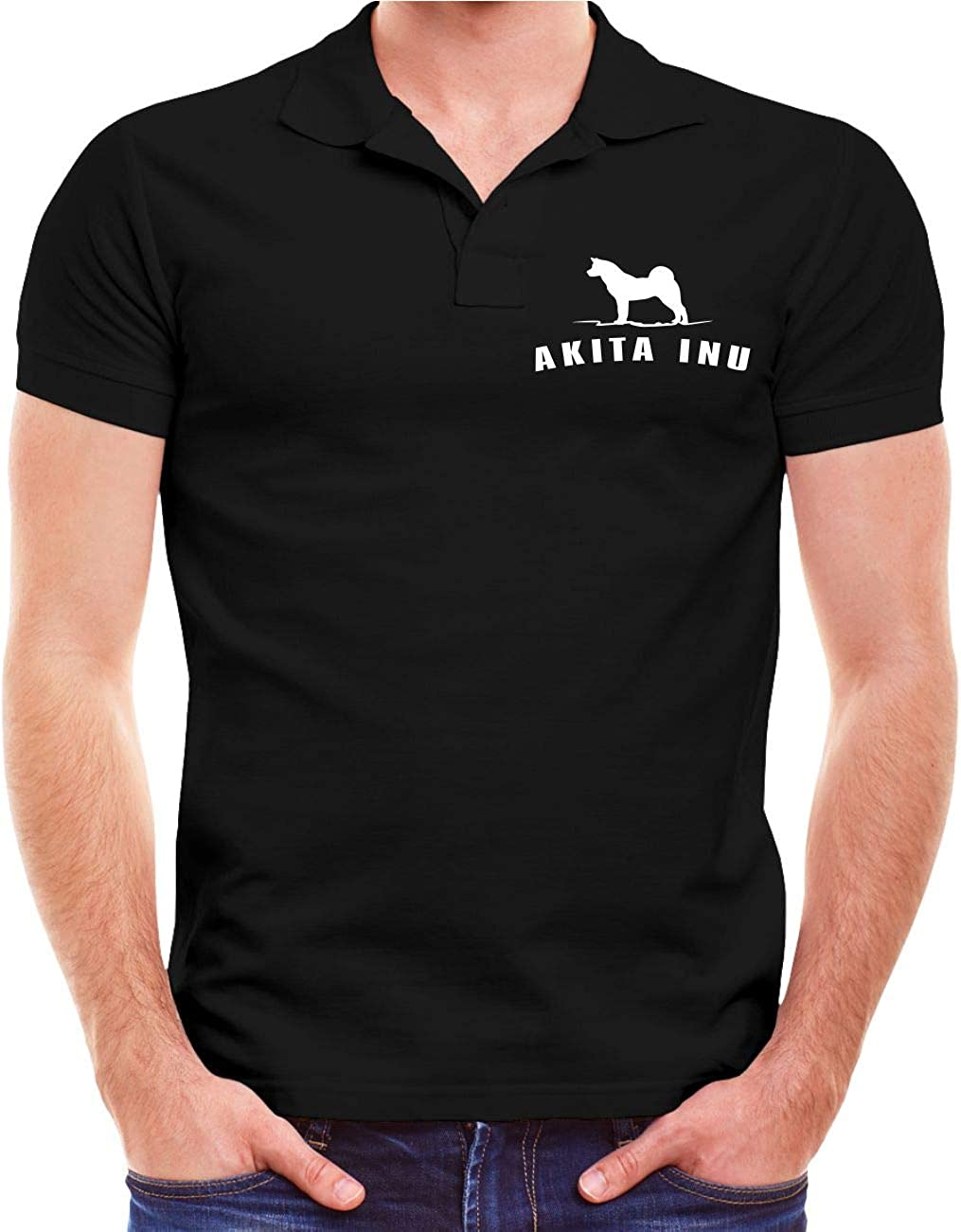 M/änner und Herren Polo Shirt Polohemd Akita Inu