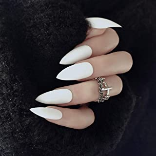Asooll 24Pcs Punk Scrub Matte Fake Nails Long Coffin False Nails Fashion Party Full Cover Claw Nails for Women and Girls (White)