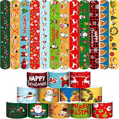 Elcoho 48 Pack Christmas Slap Bracelets Slap Xmas Snap Bracelet Party Favors Toys Slap Bands Assorted Christmas Theme Pattern for Christmas Party Favors
