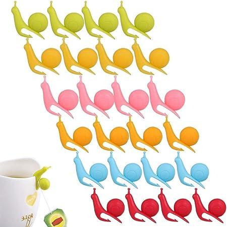 Hemoton 6Pcs Tee Tasche Halter Niedliche Schnecke Form Silikon Wein Tasse Tag Tee Halter f/ür H/ängen Tee Taschen Zuf/ällig Farbe