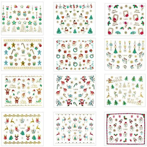 12 Sheets Christmas Nail Stickers, 3D Metal Design Self-adhesive Nail Decals Snowflakes Snowmen Santa Xmas Tree Nail Art Stickers Tips Stencil DIY Decoration for Women Kids