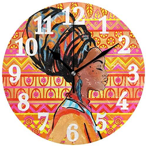 Lewiuzr Reloj de Pared Decorativo Mujer Africana con Turbante Reloj Redondo silencioso